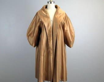 Vintage 1950s Evening Coat 50s Bronze Silk/Wool Jacket with Poet Sleeves Size M/Open
