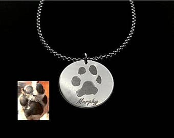Paw Print Necklace, Paw Necklace, Nose Print Necklace, Pet Memorial Necklace, Pet Lover Necklace, Sterling Silver Necklace, 14k Gold Filled