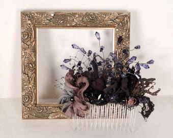 Purple Hair Comb Bridal Hair Comb Wedding Hair Piece Floral Beaded Comb Rustic Amethyst Black Headpiece Alternative Wedding Gypsy Vintage