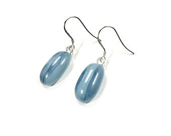 Sterling silver earrings blue dangle drop
