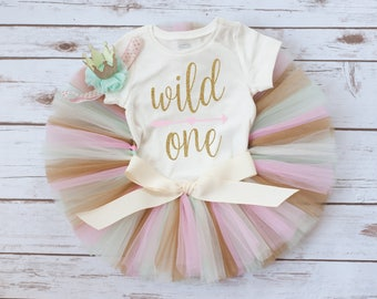 Wild one birthday 'Nieva Gold' pink mint and gold wild one birthday outfit, wild one first birthday, first birthday outfit girl, wild one