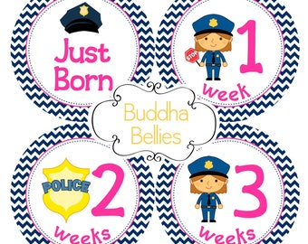 BUNDLE PACK - Police Baby Month Stickers  - Months 1-12, Newborn Set and Milestone Set for Baby Girl Policeman Cop - Save on Shipping