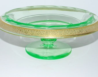 green glass compote green and gold footed compote  vintage glass