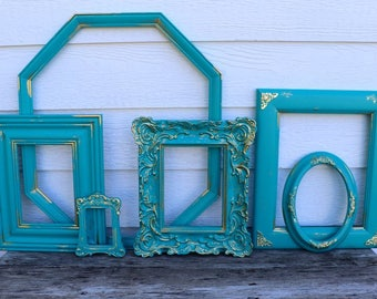 Set of 6 Open Frames - Deep Teal - Turquoise - Gold and Turquoise - Scatter Frames - Vintage Frame Set - Gallery Wall - Gold Decor