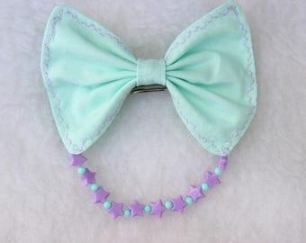Mint and Purple Fairy Kei Hair Bow
