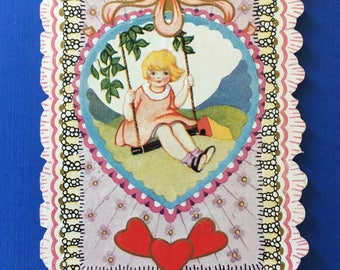 Sweet Vintage Valentine Card with Little Girl on Swing