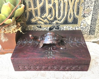 Handsome Vintage Carved Wooden Box with Turtle Handle