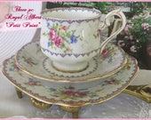 Vintage Royal Albert Petit Point Teaset Three Pieces, Teaparty, Petit Point Teaset, Birthday Gift, Bread and Butter Plate, Gift for Her, Tea