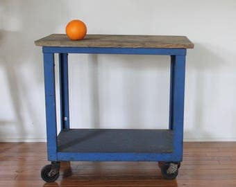 Vintage Industrial Metal and Wood Utility Cart // Steampunk Decor // Rolling Bar Cart // Distressed Wood