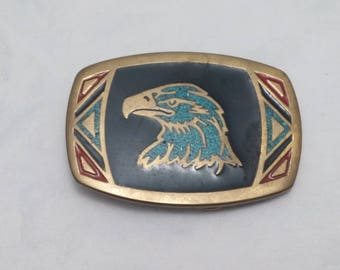 1980s Brass and Enamel Eagle Head Native America Design Belt Buckle, Made in USA, Turquoise highlights