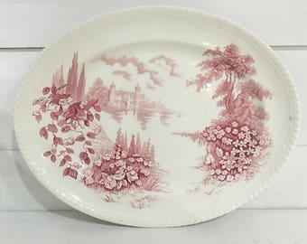 Vintage Platter Castle on the Lake Red Pink Johnson Bros England Serving Platter