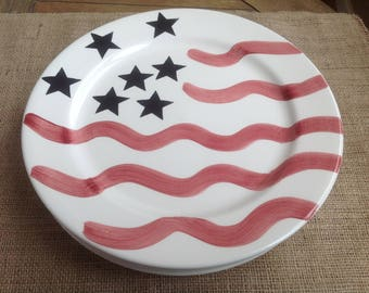 Set of four Large American Flag Dinner Plates from Lillian Vernon Hand painted American Flags
