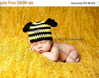 SUMMER SALE Baby Bumble Bee Hat - Newborn Beanie Boy Girl Costume Halloween  Photo Prop Christmas Gift Winter Outfit