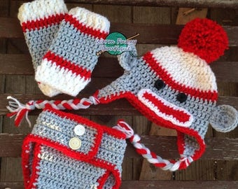SUMMER SALE Mr. Sock Monkey Hat, Diaper Cover & Leg Warmers Outfit - Baby Newborn Girl Boy Costume Halloween Preemie Christmas Thanksgiving