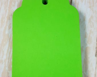 Bright Green Scalloped large tags, Die Cut, Embellishment, Gift Tag, Party Favor Tag,Wish tree