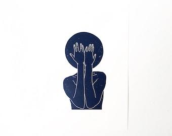 I Can't  //  Lino Print - Block Print - Modern Art - Linocut - Printmaking