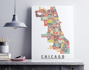 Chicago Canvas Art, Typography Map Art Formed from Chicago Neighborhoods, Chicago Wall Decor, Stretched Gallery Wrap Canvas Print