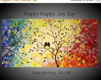 Commission Large Abstract Love Birds Tree Painting Acrylic Canvas Contemporary Over the Bed Decor Romance Modern Silhouette 24x48 JMichael