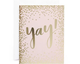 Yay! Polka Dot Gold Foil Congratulations/Celebration Card
