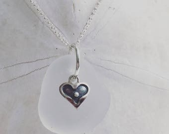 authentic white sea glass sterling heart necklace, sea glass necklace, sterling heart sea glass necklace, sea glass necklace, beach wedding