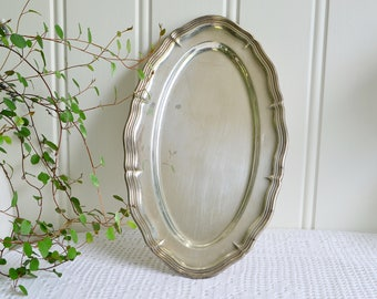 Scalloped oval plate, vintage Swedish small tray, silver plate