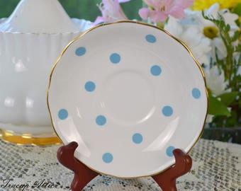 Royal Vale Light Blue Polka Dot Replacement Saucer, English Bone China Saucer, ca. 1950