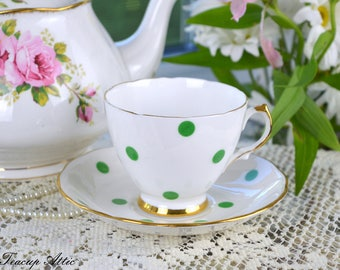 Royal Vale White Teacup and Saucer With Green Polka Dots, Vintage English Bone China Tea Cup, Garden Tea Party,  ca. 1962-1964