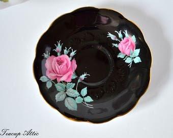 Royal Albert Black Replacement Saucer With Pink Roses, English Bone China Saucer, ca. 1960