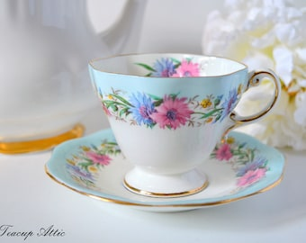 Foley Blue Cornflower Teacup And Saucer, English Bone China Tea Cup, Replacement China, c. 1948-1963