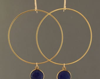 Large Gold Hoop Earrings with Lapis Stone