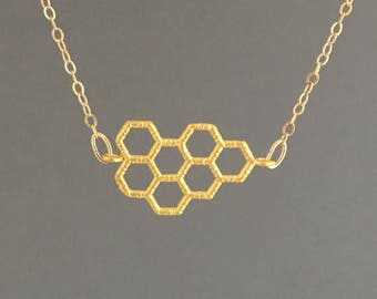 Honeycomb Necklace Available in Gold or Silver