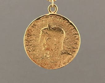 LARGE CIRCLE Ancient Coin Pendant Gold Necklace also in Silver- AC5