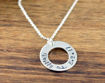 Hand stamped jewelry personalized gifts by luckyhorngifts on etsy necklaces for women baby name necklace anniversary gift her washer necklace personalized negle Gallery