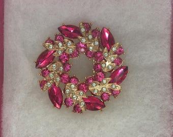 Pink, Crystal Circle Brooch, Vintage