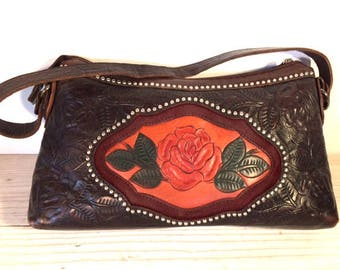 Vintage Brown Hand Tooled Leather Handbag, Purse with Red Rose Tan Inset & Silver Studs, Paraguay
