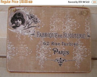3 day SUMMER SALE 15% OFF French shabby chic, Victorian child image on vintage wallpaper with French address on natural wood.