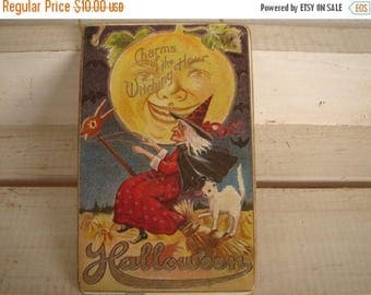 3 day SUMMER SALE 15% OFF Halloween sign,Charms of the Witching Hour,vintage style image on wooden tag with string to hang.