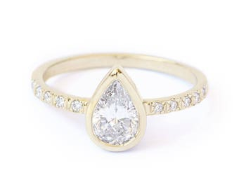 "Pear Ring, 0.57 Ct Diamond Ring, Pear Shaped Diamond Unique Engagement Ring ""Paris"", 14K Yellow Gold Ring Size 7.5, Wedding Jewelry"
