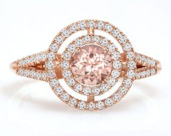 10% OFF Double Halo Engagement Ring, Morganite Ring, 14K Rose Gold Ring, Unique Engagement Ring, Split Shank Ring, Vintage Rings