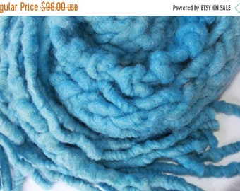 XMAS IN JULY up to 50%off Sale Handmade Super Bulky Scarf, in Blue, of  SuperSoft Handspun Super Bulky Alpaca Merino Yarn