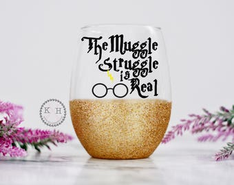 The Muggle Struggle IS real HP Stemless Wine Glass Glitter, best HP gift , gold glitter hp glass