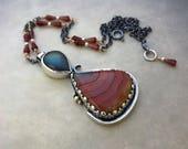 Labradorite and Dryhead agate pendant, gemstone Necklace, sterling silver neckkace, boho necklace, garnet necklace, gift idea