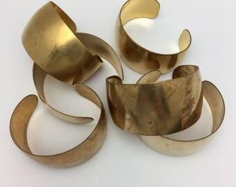 6 Brass Cuffs Unfinished Cuff domed cuffs