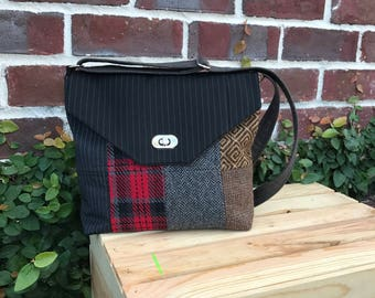 Patchwork Messenger Bag from recycled suits