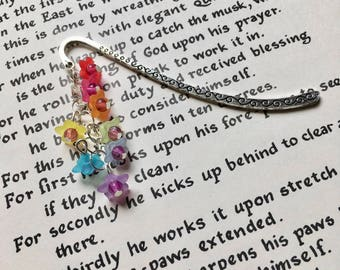 Rainbow Flower Bookmark, Unique Bookmark, 16th Birthday Gift for Teen Girl, Lucite Bookmark, Nature Lover Gift, Bookworm Gift, Cute Bookmark