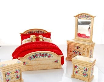 SPECIAL SALE Shimmering Gold and Red Velvet 4pc Bedroom Set Hand-Painted Dollhouse Miniature Glitzy 1:12 Scale Furniture