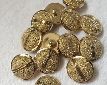 Gold vintage buttons,decorated buttons round buttons plastic buttons,shank buttons, 12 pcs,supplies 2 cm