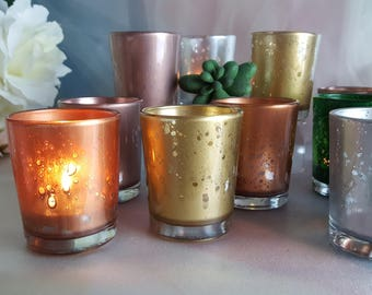 10 per rose gold silver copper mercury glass votive candle holders