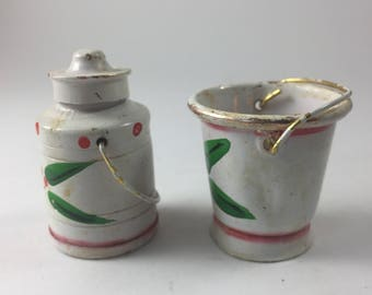 Tiny Little Metal Milk Pail and Milk Can