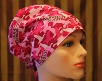 Scrub Hat, Tie Back Surgical Scrub Hat/Chemo Hat/OR scrub hat, Scrub Cap--Duck Dynasty